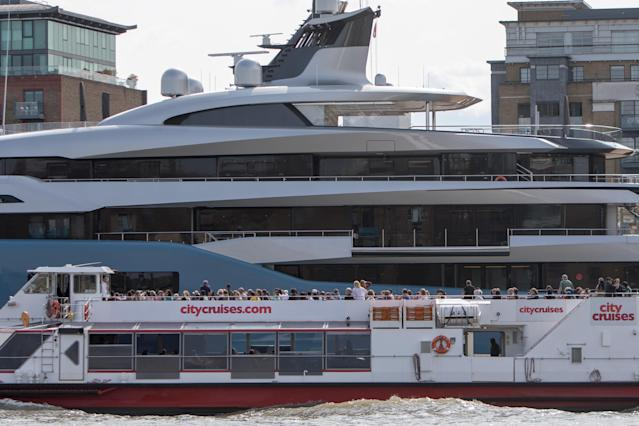 <p>The huge vessel was moored near London's Butler's Wharf on Thursday afternoon. (WENN) </p>