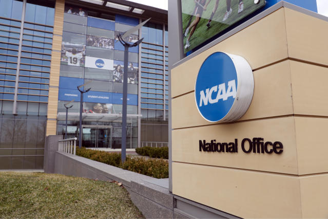 Seven women filed a lawsuit against the NCAA saying the organization failed to protect individuals from alleged sexual assault. (AP Photo/Michael Conroy)