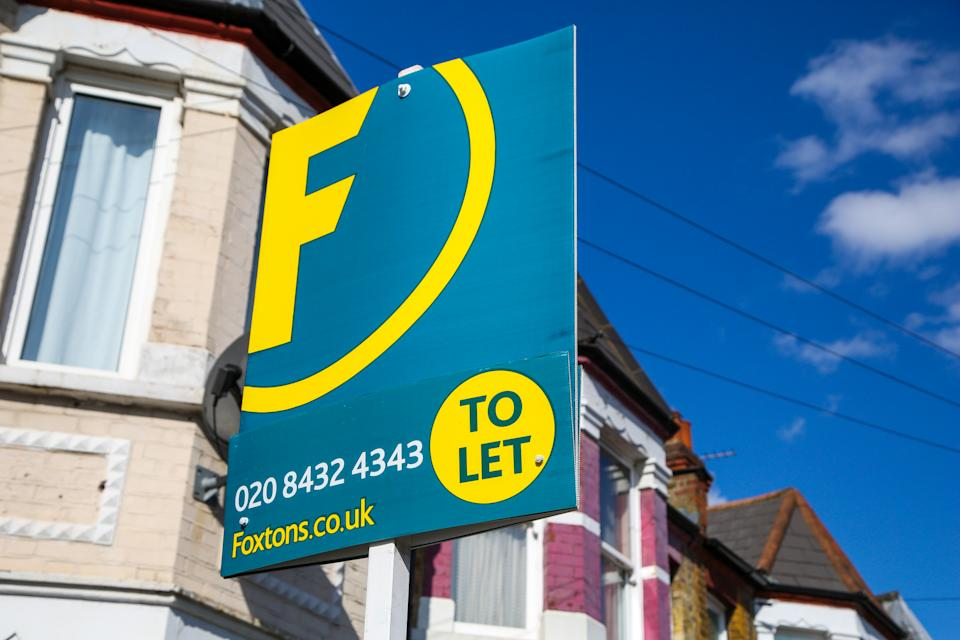 A Foxtons estate agent's 'To Let' sign seen outside a residential property in London. Photo: Dinendra Haria/SOPA/LightRocket via Getty