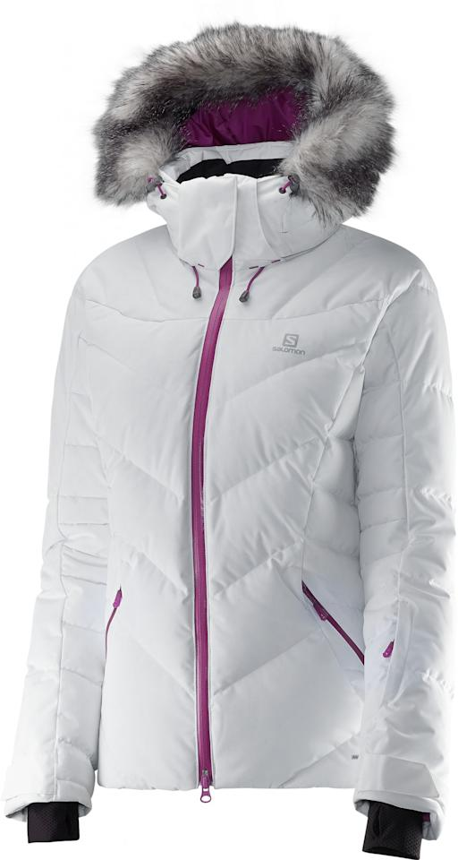 """<p><span>We love a ski jacket that looks good both on and off the slopes. This <a rel=""""nofollow"""" href=""""https://www.ellis-brigham.com/products/salomon-womens-icetown-down-ski-jacket/302608?itemid=115512"""">Salomon Women's Icetown Down</a> number </span><b>(£299.99)</b><span> is precisely that, with feminine style and functionality in spades. Available in four colours, it features all the essentials you need from a ski jacket (lift pass pocket, underarm venting zips, zip-out powder skirt and goggles pockets) and is filled with down to keep you toasty. The hood is removable, and so is the faux fur trim, so you essentially have three jackets styles in one. [Photo: Salomon]</span> </p>"""