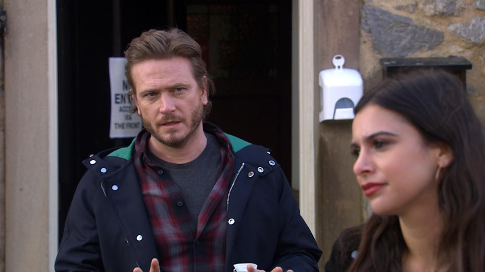 FROM ITV  STRICT EMBARGO  Print media - No Use Before Tuesday 27th April 2021 Online Media - No Use Before 0700hrs  Tuesday 27th April 2021  Emmerdale - Ep 9038  Tuesday 4th May 2021  As Leyla Harding [ROXY SHAHIDI] and David Metcalfe [MATTHEW WOLFENDEN] and platonically part ways, Meena PAIGE SANDHU] rages to see them so close. Thinking Leyla is trying to steal David, Meena rudely interrupts Liam Cavanagh's [JOHNNY McPHERSON] attempted proposal to Leyla.   Picture contact David.crook@itv.com   This photograph is (C) ITV Plc and can only be reproduced for editorial purposes directly in connection with the programme or event mentioned above, or ITV plc. Once made available by ITV plc Picture Desk, this photograph can be reproduced once only up until the transmission [TX] date and no reproduction fee will be charged. Any subsequent usage may incur a fee. This photograph must not be manipulated [excluding basic cropping] in a manner which alters the visual appearance of the person photographed deemed detrimental or inappropriate by ITV plc Picture Desk. This photograph must not be syndicated to any other company, publication or website, or permanently archived, without the express written permission of ITV Picture Desk. Full Terms and conditions are available on  www.itv.com/presscentre/itvpictures/terms