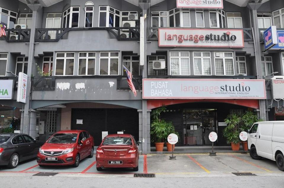 One half of The Language Studio, a learning center in Ampang, remains, at right. The other half is available for rent. Photo: Coconuts