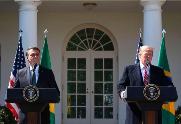PHOTO: President Donald Trump takes part in a joint press conference with Brazil's President Jair Bolsonaro in the Rose Garden at the White House on March 19, 2019, in Washington, D.C. (Jim Watson/AFP/Getty Images)