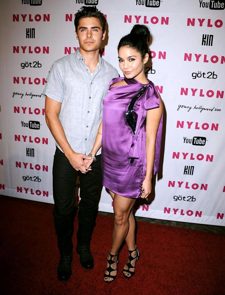 """Young Hollywood's prom king and queen, Zac Efron and Vanessa Hudgens (in a hot Vera Wang mini), struck a pose on the red carpet before heading in to <i>Nylon</i> magazine's party at the Tropicana Bar in LA. Steve Granitz/<a href=""""http://www.wireimage.com"""" target=""""new"""">WireImage.com</a> - May 12, 2010"""