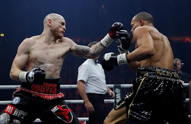 Boxing - World Boxing Super Series Semi Final - George Groves vs Chris Eubank Jr - WBA & IBO World Super-Middleweight Titles - Manchester Arena, Manchester, Britain - February 17, 2018 George Groves in action with Chris Eubank Jr Action Images via Reuters/Andrew Couldridge