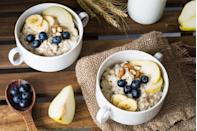 """<p>""""<a href=""""https://www.prevention.com/food-nutrition/a20501872/how-cook-whole-oats/"""" rel=""""nofollow noopener"""" target=""""_blank"""" data-ylk=""""slk:Oats"""" class=""""link rapid-noclick-resp"""">Oats</a> are a complex carbohydrate and they provide the body with a source of B vitamins, helping the body to use the energy within them,"""" says Matthews. """"They also contain beta glucan which can help to lower cholesterol. The fiber within can make you feel fuller for longer so this can help to prevent the mid‐morning snacking. Try making <a href=""""https://www.prevention.com/food-nutrition/recipes/g25253175/overnight-oats-recipes/"""" rel=""""nofollow noopener"""" target=""""_blank"""" data-ylk=""""slk:overnight oats"""" class=""""link rapid-noclick-resp"""">overnight oats</a> with a low-fat yogurt for a delicious and satisfying meal.""""</p>"""