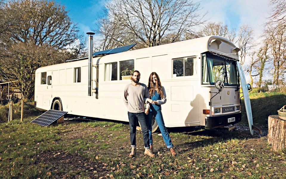 Restful place: Chloe Massey and Talib Saleh made their first small home on their travels. They now live in a converted American school bus - Indigo & Olive