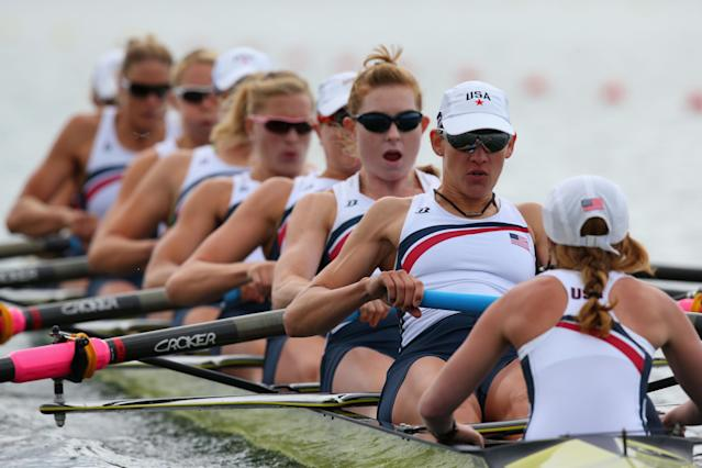 WINDSOR, ENGLAND - JULY 29: United States compete in Heat 1 of the Women's Eight on Day 2 of the London 2012 Olympic Games at Eton Dorney on July 29, 2012 in Windsor, England. (Photo by Alexander Hassenstein/Getty Images)