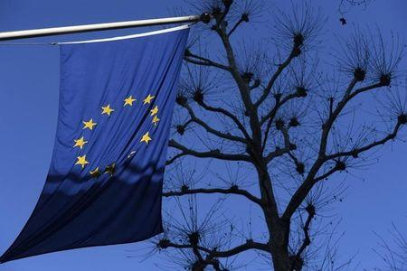A European Union flag hangs from Europe house in central London
