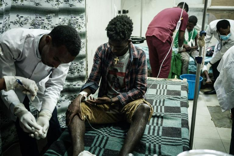 Tuesday's air strike left victims with disfigured limbs, shrapnel wounds and burns among other injuries