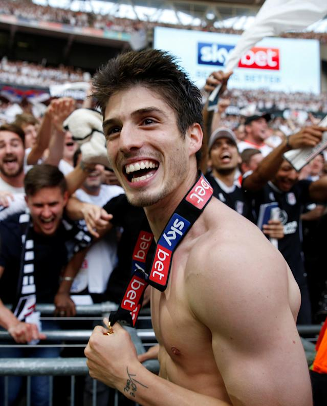 "Soccer Football - Championship Play-Off Final - Fulham vs Aston Villa - Wembley Stadium, London, Britain - May 26, 2018 Fulham's Lucas Piazon celebrates promotion to the Premier League Action Images via Reuters/Carl Recine EDITORIAL USE ONLY. No use with unauthorized audio, video, data, fixture lists, club/league logos or ""live"" services. Online in-match use limited to 75 images, no video emulation. No use in betting, games or single club/league/player publications. Please contact your account representative for further details."