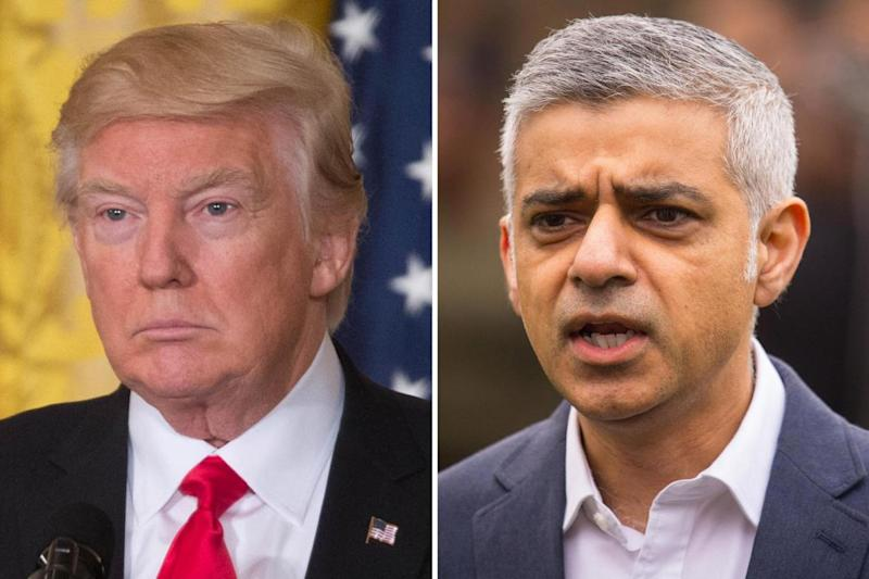 Donald Trump, left, and Sadiq Khan, right, were at loggerheads over the London Bridge terror attack (PA)