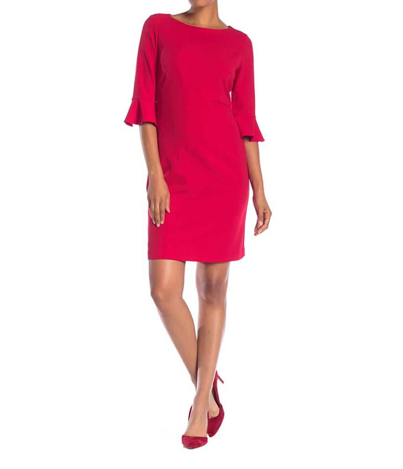 "<p>3/4 ruffle sleeve sheath dress, $40,<a rel=""nofollow"" href=""https://fave.co/2On8CCX""> nordstromrack.com</a> </p>"