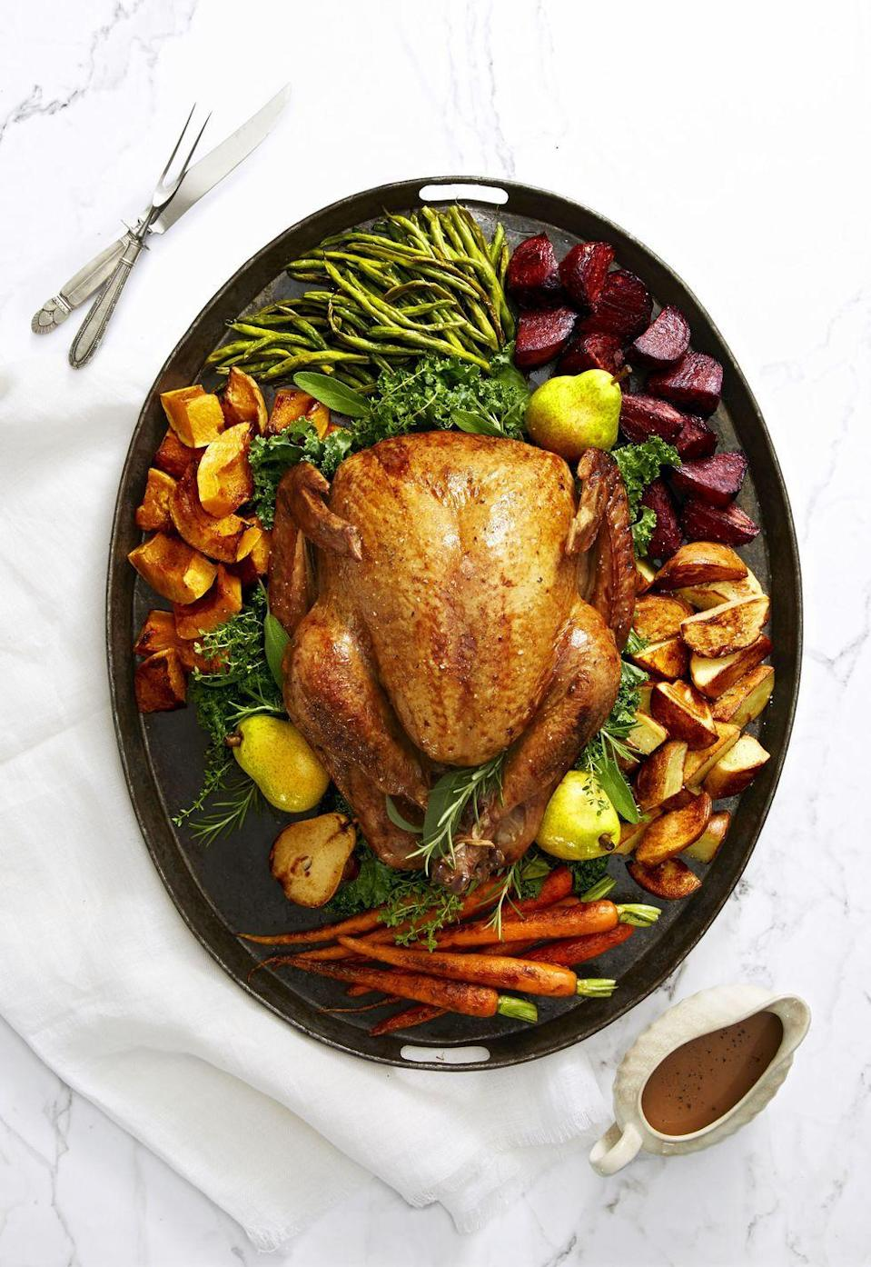 """<p>Pears roasted with the turkey get blended into pan juices for a sweet-salty, secret-ingredient gravy that'll be everyone's favorite <a href=""""https://www.goodhousekeeping.com/holidays/thanksgiving-ideas/g1202/thanksgiving-side-dishes/"""" rel=""""nofollow noopener"""" target=""""_blank"""" data-ylk=""""slk:Thanksgiving side dish"""" class=""""link rapid-noclick-resp"""">Thanksgiving side dish</a> this year.</p><p><em><a href=""""https://www.goodhousekeeping.com/food-recipes/a41080/golden-glazed-turkey-and-roasted-pear-gravy-recipe/"""" rel=""""nofollow noopener"""" target=""""_blank"""" data-ylk=""""slk:Get the recipe for Golden Glazed Turkey and Roasted Pear Gravy »"""" class=""""link rapid-noclick-resp"""">Get the recipe for Golden Glazed Turkey and Roasted Pear Gravy »</a></em></p>"""