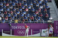 Japan's Rikuya Hoshino watches his tee shot on the first hole during the first round of the men's golf event at the 2020 Summer Olympics on Wednesday, July 28, 2021, at the Kasumigaseki Country Club in Kawagoe, Japan. (AP Photo/Matt York)