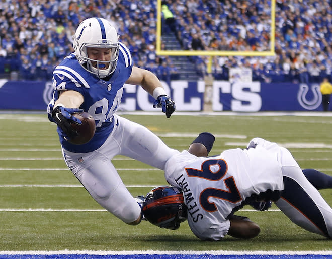 End-zone stretches could become a common occurrence for Jack Doyle this season. (AP)