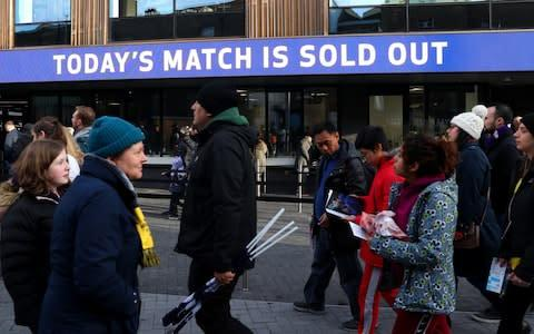 <span>Fans arrive at the stadium ahead of the game</span> <span>Credit: Getty images </span>
