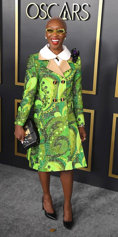 <p>At the Oscars nominee luncheon, Cynthia Erivo wore a paisley Louis Vuitton coat with David Yurman jewels.</p>