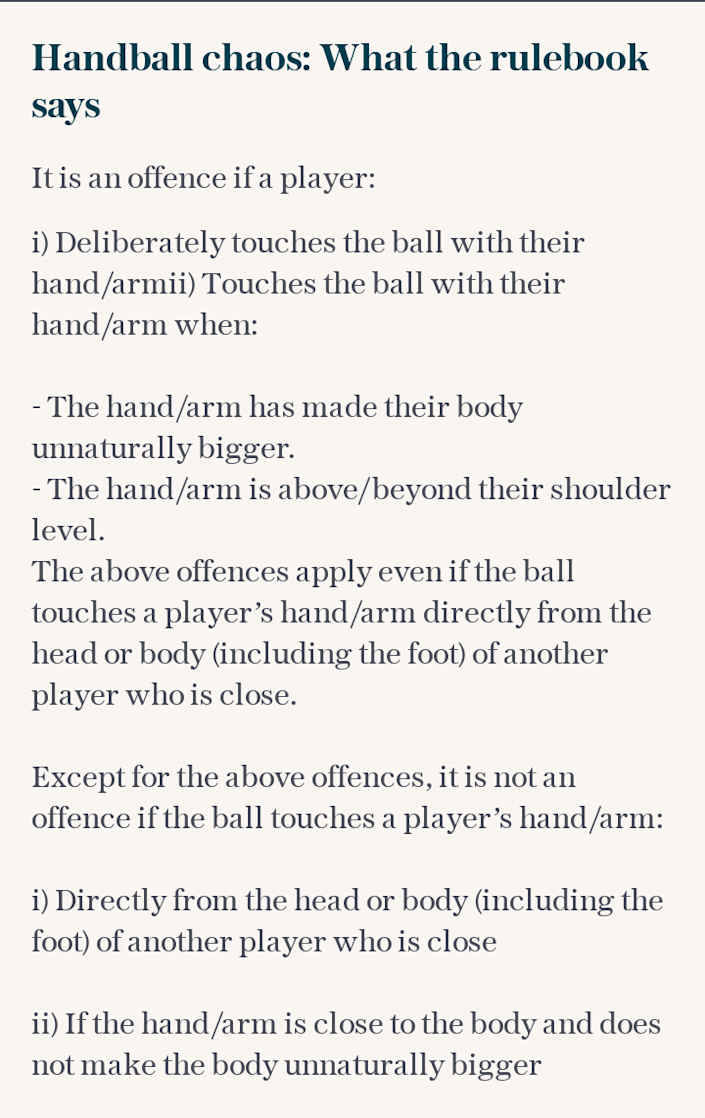 What the handball law says