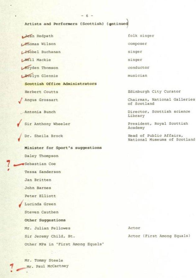 The celebrity guestlist vetted by Denis Thatcher.