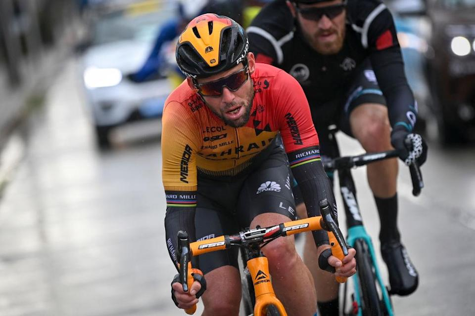 BahrainMcLarens British rider Mark Cavendish competes in the GentWevelgem In Flanders Fields one day cycling race 2325 km from Ypres to Wevelgem on October 11 2020 in  2020 in Ypres Photo by DIRK WAEM  BELGA  AFP  Belgium OUT Photo by DIRK WAEMBELGAAFP via Getty Images