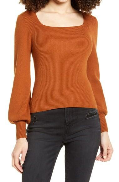 <p>You'll bring out this classic <span>Rib Square Neck Sweater</span> ($59) every year.</p>