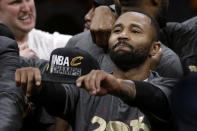 FILE - In this June 19, 2016, file photo, Cleveland Cavaliers guard Mo Williams celebrates after Game 7 of basketball's NBA Finals between the Golden State Warriors and the Cavaliers in Oakland, Calif. Williams played in the All-Star Game and now coaches at Alabama State. Historically Black institutions like Alabama State will be a focus of Sundays NBA All-Star Game in Atlanta. (AP Photo/Marcio Jose Sanchez, File)
