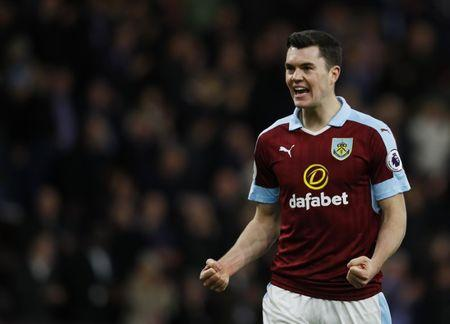 Burnley's Michael Keane celebrates after the match  Reuters / Phil Noble