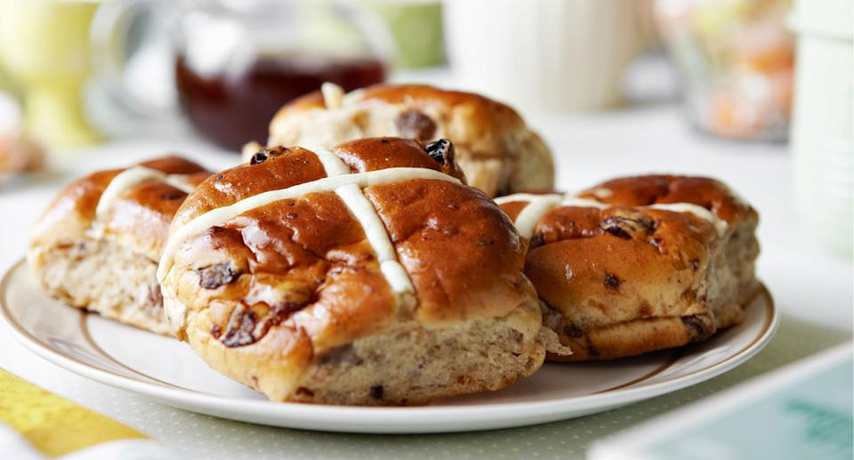 Hot cross buns pictured following Coles' announcement it would sell them nationwide year-round.