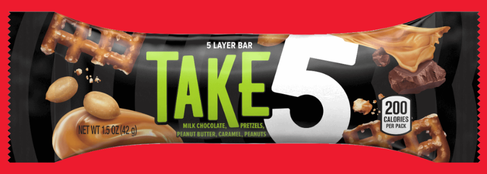 """<p><strong>Take 5</strong></p><p>In 2010, Hershey's was telling its fan to relax, take a break, and eat some chocolate. Layers of sweet, salty, and chocolate-y goodness, this candy bar <a href=""""https://www.thehersheycompany.com/en_us/products/product/take5-candy-bar-1-point-5-ounce.html"""" rel=""""nofollow noopener"""" target=""""_blank"""" data-ylk=""""slk:does contain peanuts"""" class=""""link rapid-noclick-resp"""">does contain peanuts</a>, so it's healthy, right? Right. </p>"""