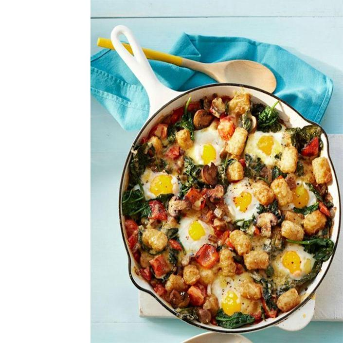 """<p>Take your tater tots to the next level with this decadent casserole recipe.</p><p><a href=""""https://www.womansday.com/food-recipes/food-drinks/recipes/a53660/egg-and-tater-bake/"""" rel=""""nofollow noopener"""" target=""""_blank"""" data-ylk=""""slk:Get the Egg and Tater Bake recipe."""" class=""""link rapid-noclick-resp""""><em>Get the Egg and Tater Bake recipe.</em></a></p>"""
