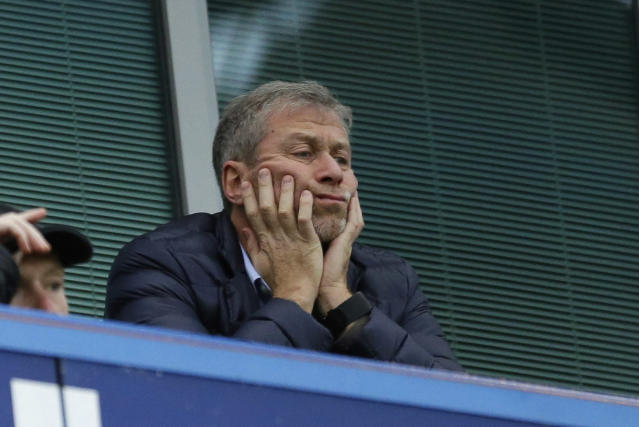 <p> FILE - In this file photo dated Saturday, Dec. 19, 2015, Chelsea soccer club owner Roman Abramovich sits in his box before the English Premier League soccer match between Chelsea and Sunderland at Stamford Bridge stadium in London. (AP Photo/Matt Dunham, File)</p>