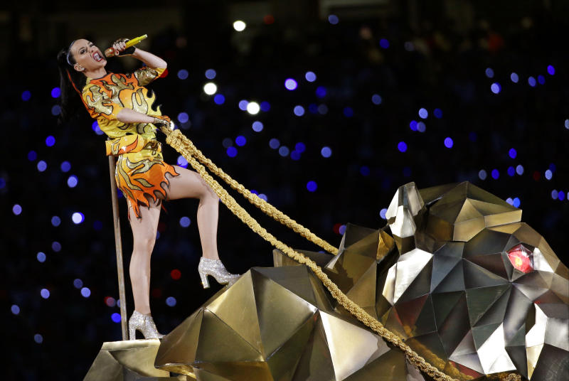 """FILE - In this Sunday, Feb. 1, 2015 file photo, singer Katy Perry performs during halftime of NFL Super Bowl XLIX football game between the Seattle Seahawks and the New England Patriots in Glendale, Ariz. The penalty phase in a copyright infringement trial will begin Tuesday, July 30, 2019, in Los Angeles and will determine how much Perry and other creators of her hit song """"Dark Horse"""" will owe for improperly copying elements of a 2009 Christian rap song. (AP Photo/David J. Phillip, File)"""