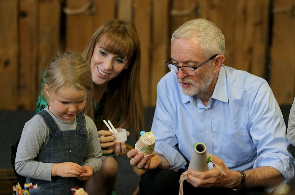 Labour leader Jeremy Corbyn and Shadow Education Secretary Angela Rayner during a visit to the Scrap Creative Reuse Arts Project in Farsley, while on the General Election campaign trail in Leeds.
