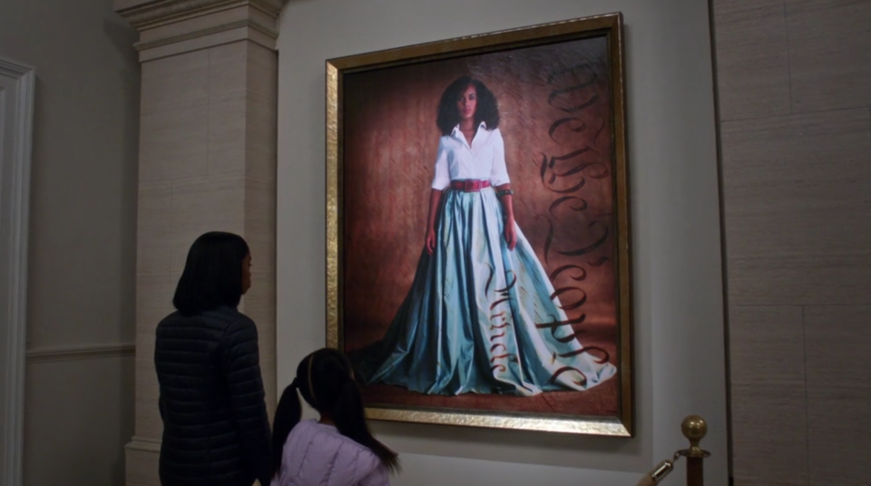 Olivia Pope is added to the National Portrait Gallery in the series finale of <em>Scandal</em>. (Photo: Hulu)