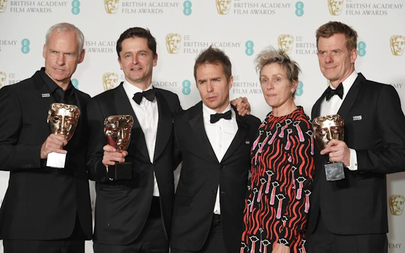 (L to R) Martin McDonagh, Peter Czernin, Sam Rockwell, Frances McDormand and Graham Broadbent, aftr accepting the Best Film award for Three Billboards Outside Ebbing, Missouri - Getty Images Europe