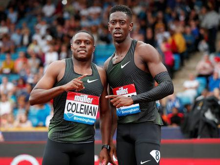Athletics - Diamond League - Birmingham Grand Prix - Alexander Stadium, Birmingham, Britain - August 18, 2018 First placed Christian Coleman of the U.S. and second placed Reece Prescod of Britain pose after the men's 100m Action Images via Reuters/Peter Cziborra