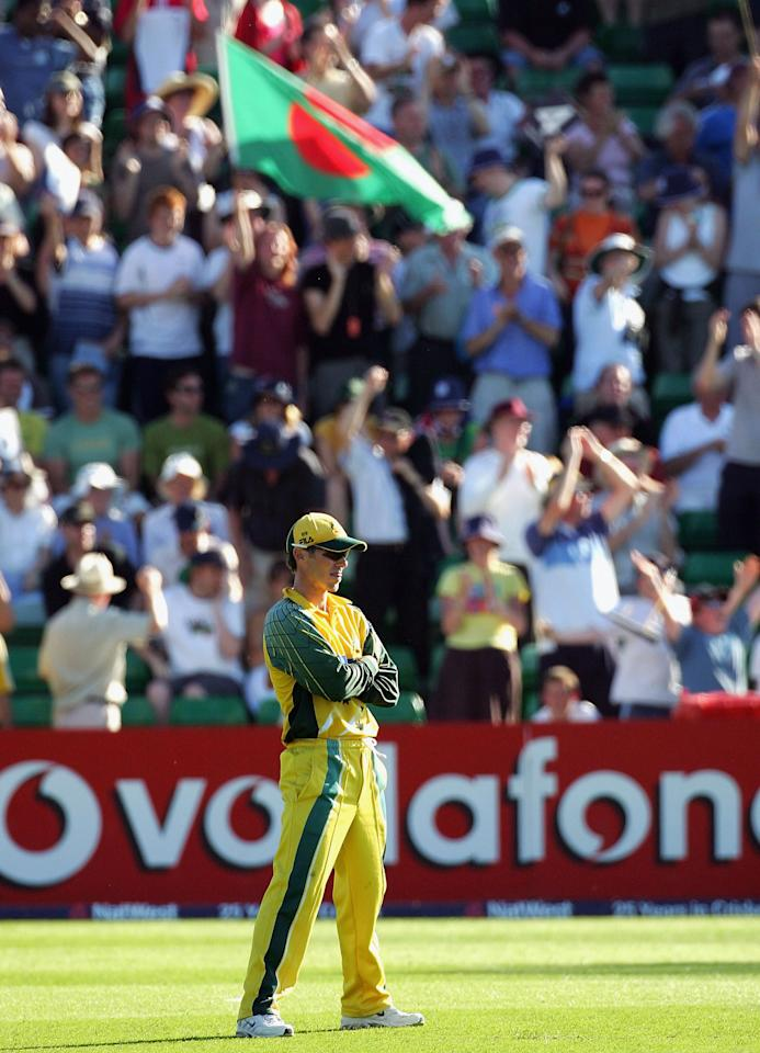 Damien Martyn of Australia looks on during the NatWest Series One Day International between Australia and Bangladesh played at Sophia Gardens on June 18, 2005 in Cardiff, United Kingdom  (Photo by Hamish Blair/Getty Images)