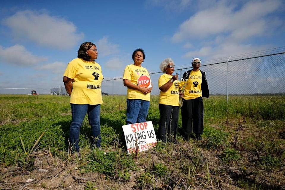 Myrtle Felton, Sharon Lavigne, Gail LeBoeuf and Rita Cooper of Rise St James hold a demonstration on property owned by Formosa in March 2020. (AP)