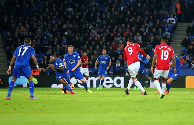 <p>Zlatan Ibrahimovic of Manchester United scores a goal to make it 0-2 during the Premier League match between Leicester City and Manchester United at The King Power Stadium on February 5, 2017 in Leicester, England. </p>