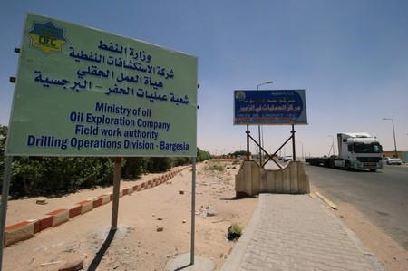 A sign of Ministry of Oil is pictured at the entry of Zubair oilfield after a rocket struck the site of residential and operations headquarters of several oil companies at Burjesia area in Basra
