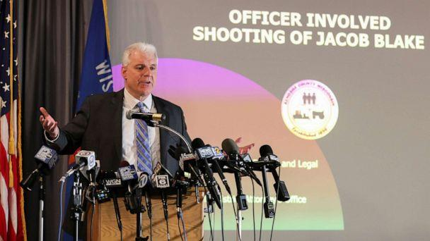 PHOTO: Kenosha County District Attorney Michael Graveley announces the decision on whether any of the Kenosha Police Officers involved in the  shooting of Jacob Blake will face criminal charges, in Kenosha, Wis., Jan. 5, 2021. (Daniel Acker/Reuters)