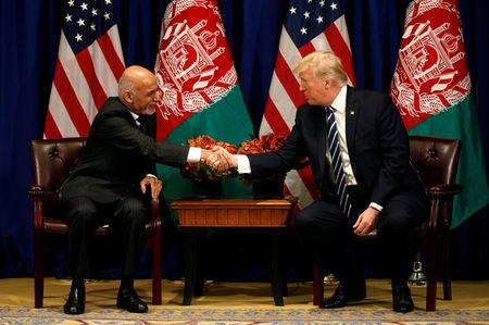 U.S. President Donald Trump meets with Afghan President Ashraf Ghani during the U.N. General Assembly in New York, U.S., September 21, 2017. REUTERS/Kevin Lamarque
