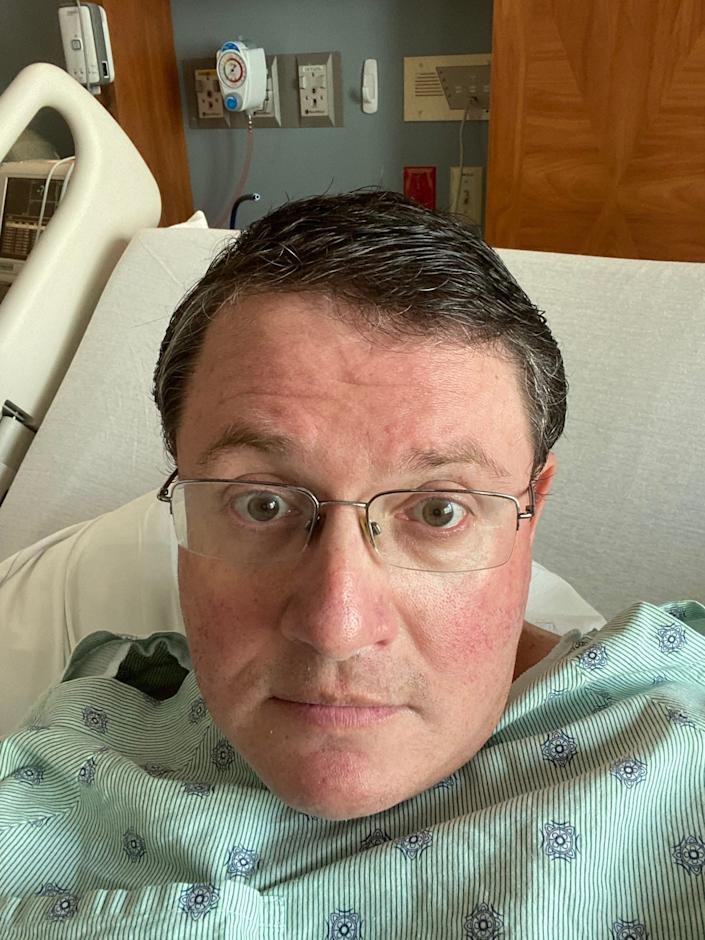 A selfie by Republican State Rep. Randy Fine from his hospital bed at Holmes Regional Medical Center on Aug 4., 2020 where he was admitted for observation for COVDI-19.