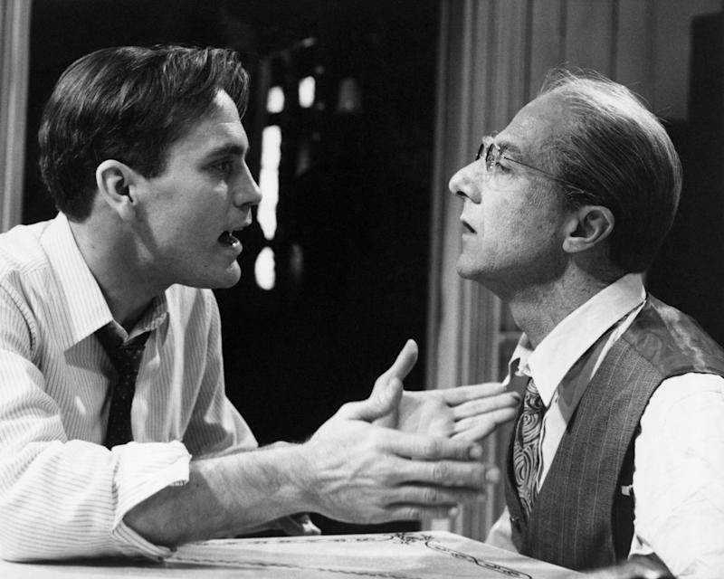 """John Malkovich and Dustin Hoffman in the 1985 television movie """"Death of a Salesman."""""""