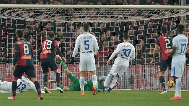 Goran Pandev was Genoa's hero as Inter suffered their latest setback in the race for Champions League qualification in Serie A.