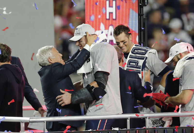 Patriots owner Robert Kraft wants Rob Gronkowski back. (Michael Zagaris/Getty Images)
