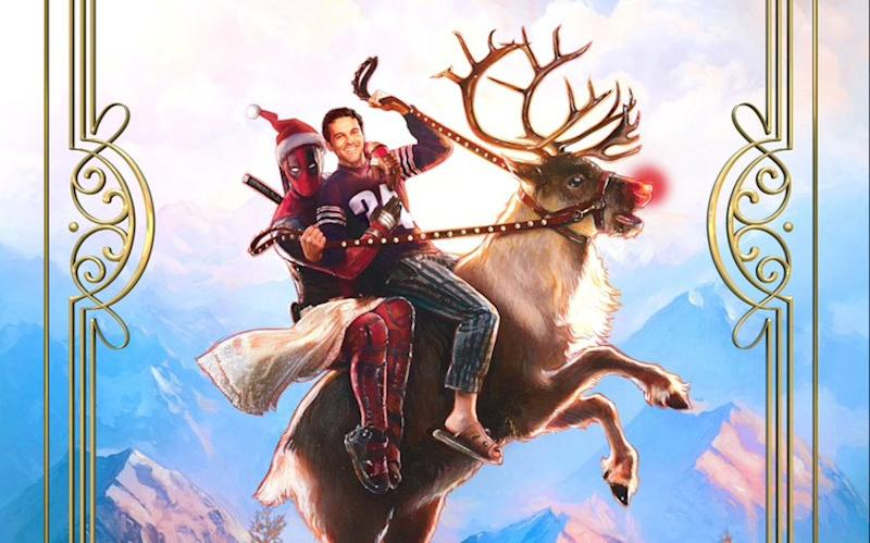 Ryan Reynolds mounts a reindeer in Once Upon a Deadpool poster