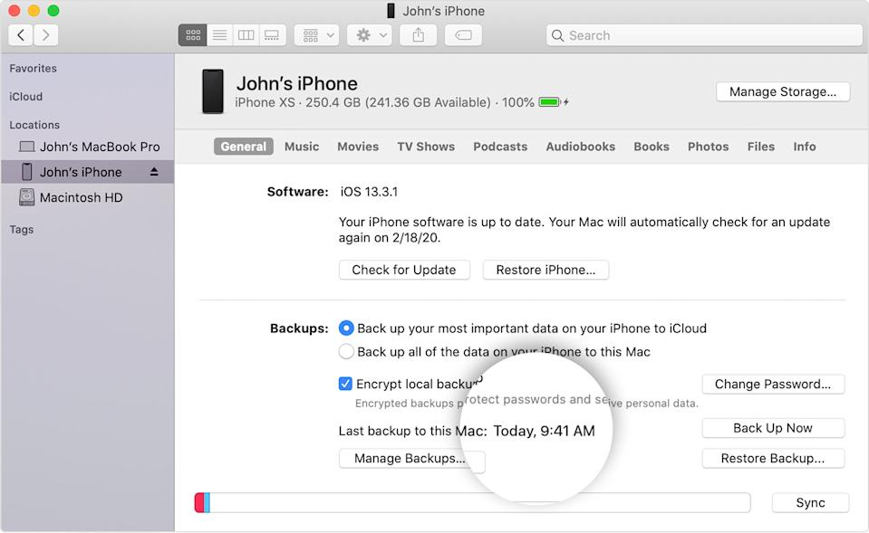 You can also back up your iPhone to your Mac or PC using iTunes. (Image: Apple)