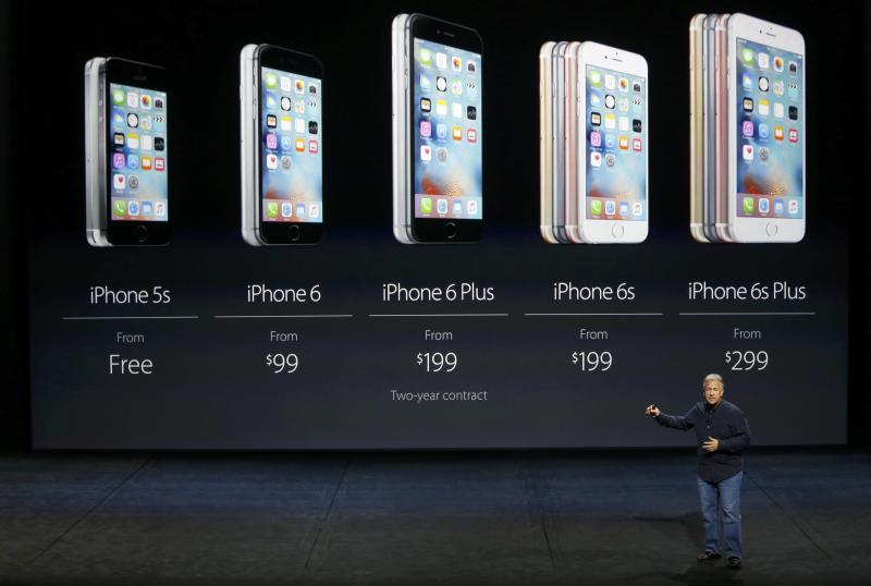 Phil Schiller speaks about pricing for the entire iPhone line during an Apple media event in San Francisco